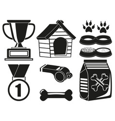 9 black and white dog care elements silhouette set vector