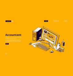 accountant isometric landing monthly recurring vector image