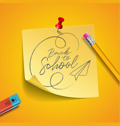 Back to school design with graphite pencil eraser vector