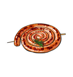 Barbequed cumberland sausage rolled in coil vector