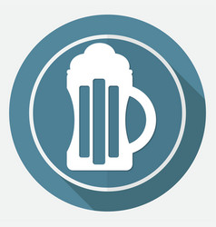 beer icon on white circle with a long shadow vector image