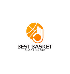Best basketball logo template with hand gesture vector