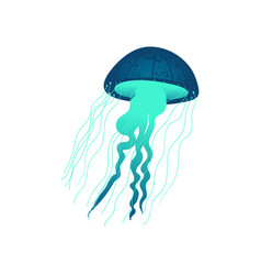 Blue and green hand drawn jellyfish with glowing vector