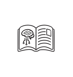 book with brain neural networks hand drawn outline vector image