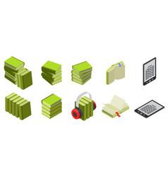 books isometric icon set vector image