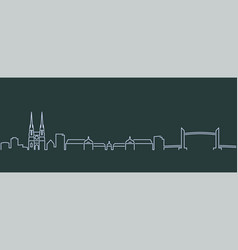Bordeaux single line skyline profile vector