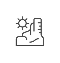 canyon under sun line outline icon vector image