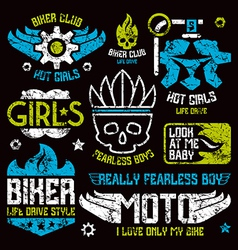 Car and biker masculine badges vector