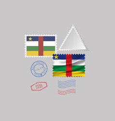 Central african republic flag postage stamp set vector