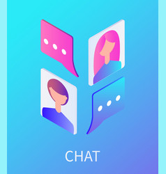 chat female and male avatars vector image