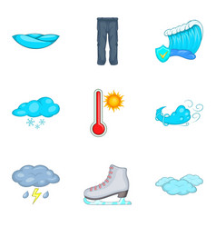 Chilly weather icons set cartoon style vector