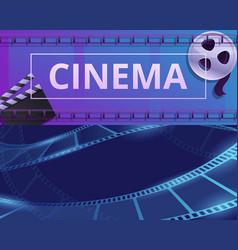Cinema filmstrip banner set cartoon style vector