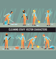 cleaning staff - cleaning woman and man vector image