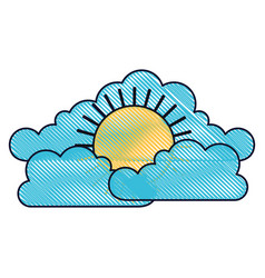 Cloud cumulus and sun flat icon in colored crayon vector