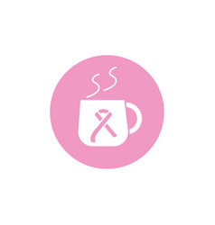 coffee cup ribbon breast cancer awareness vector image