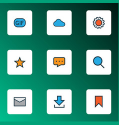 Communication icons colored line set with favorite vector