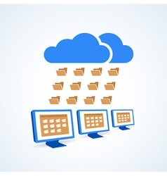 copmutre desktop pc folder clouds icon vector image vector image