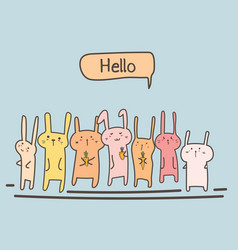 Cute bunny say hello set vector