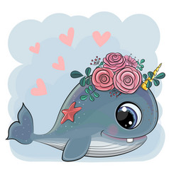 cute cartoon whale with flowers vector image