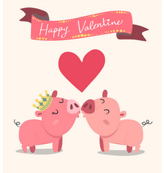Cute couple pink pigs kissing valentine card vector