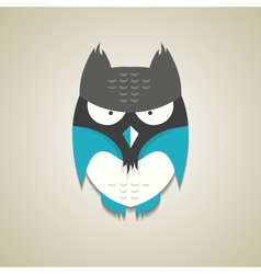 Cute little blue and grey cartoon owl vector image