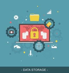 Data storage flat concept vector