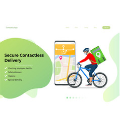 Delivery man or courier in a medical mask and vector