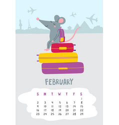 February calendar page with cute rat in travel vector