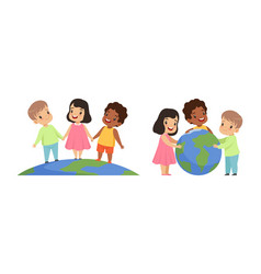 friendship unity earth planet protection happy vector image