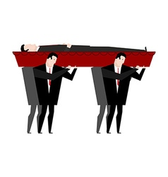 Funeral Men carry coffin with dead Red wooden vector image