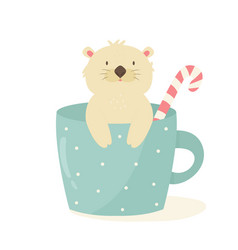 Funny cute sloth sitting in a coffee cup vector
