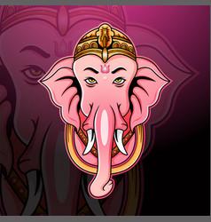 ganesha head esport mascot logo de vector image