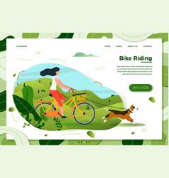 girl riding on bike with dog vector image