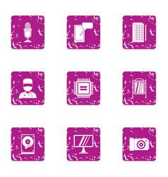 Glare display icons set grunge style vector