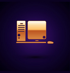 Gold computer monitor with keyboard and mouse icon vector