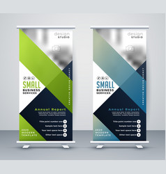 Green and blue business rollup standee banner vector