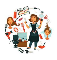 Hair beauty or woman hairdresser salon poster vector