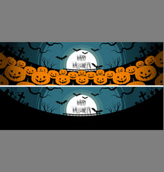 halloween a lot of pumpkins in front of a full vector image