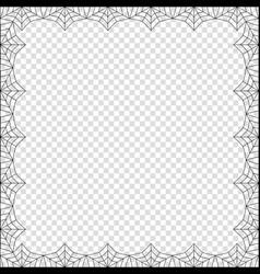 Halloween square spider web border on transparent vector