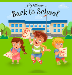 happy schoolchildren with good grade poster vector image