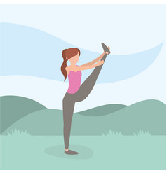 Healthy woman lifestyle training sport vector