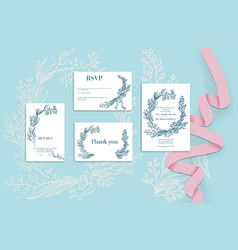 holiday wedding set cards vector image