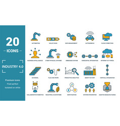 Industry 40 icon set include creative elements vector