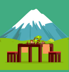 Japanese restaurant table with mountain on horizon vector