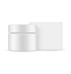 jar with square paper box mockup vector image