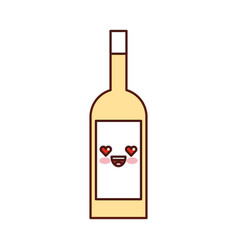 kawaii wine bottle drink beverage market cartoon vector image