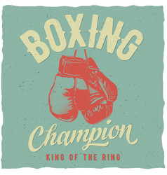 Label design with of boxing gloves vector