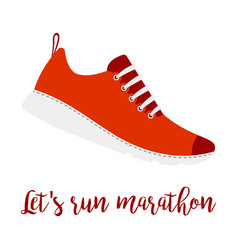Lets run marathon style shoe vector