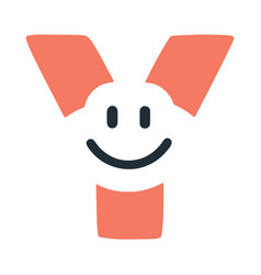 Letter y with a smile on the face character in vector
