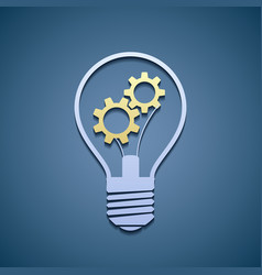 Light bulb with gears vector